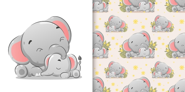The seamless illustration of the baby elephant sleeping in near the big elephant