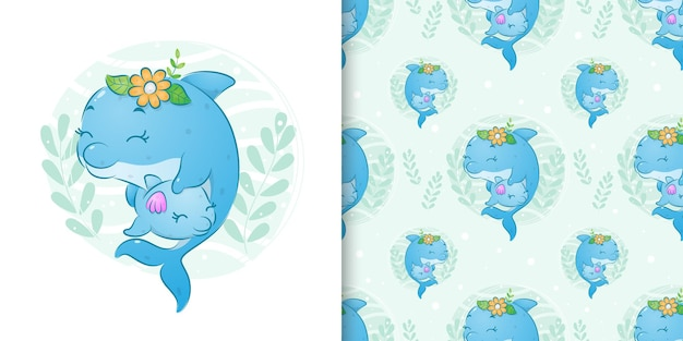 The seamless illustration of the dolphin with the little flowers holds her baby