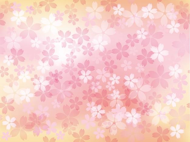 Illustrazione senza soluzione di continuità con i fiori di ciliegio in piena fioritura ripetibile in orizzontale e in verticale