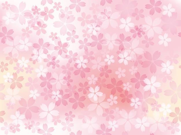 가로 및 세로 반복 만개 벚꽃과 원활한 그림 프리미엄 벡터