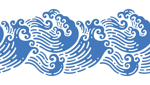 Seamless illustrations of japanese  wave in doodle design