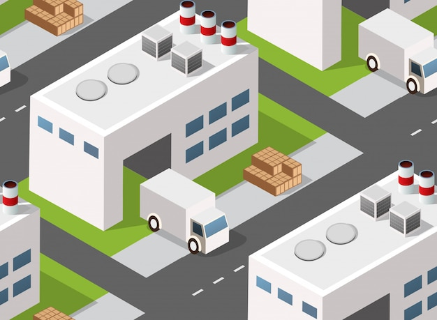 Seamless industrial  landscape of factory or warehouse