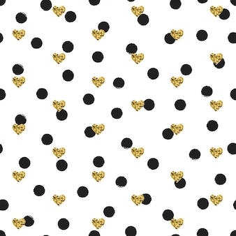 Seamless ink polka dot pattern with gold heart