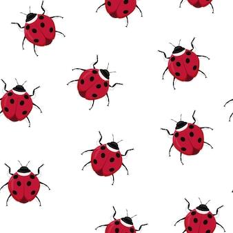 Seamless insect pattern of ladybug beetles