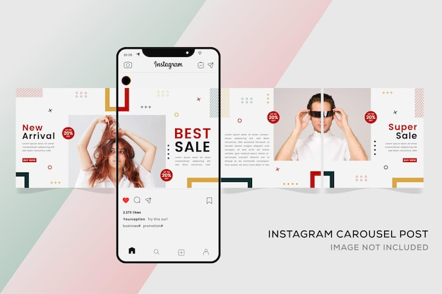 Seamless instagram carousel templates banner for fashion sale.