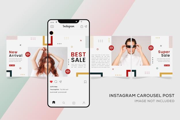 ファッション販売のためのシームレスなinstagramカルーセルテンプレートバナー。