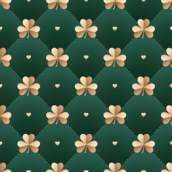 Seamless irish gold pattern with clover and heart