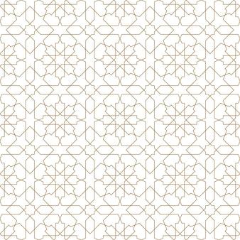 シームレスなイスラムの幾何学模様。茶色の線。細い線。