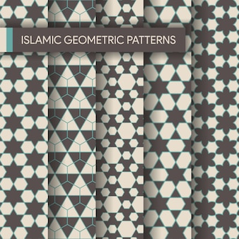 Seamless islamic geometric patterns backgrounds collection