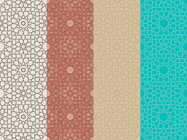 Seamless islamic moroccan patterns set