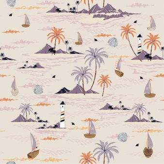 Seamless island pattern vector