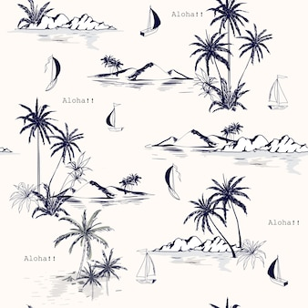Seamless island pattern on white background.