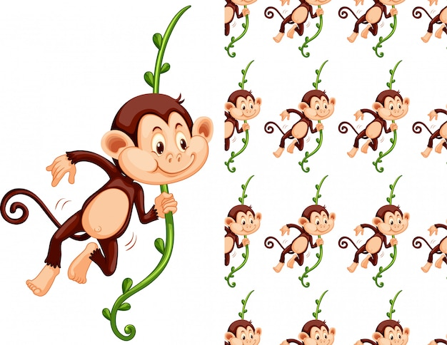 Seamless and isolated monkey pattern cartoon