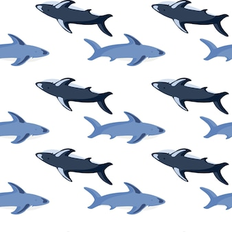 Seamless isolated pattern with blue shark shapes print. white background. ocean underwater ornament. designed for fabric design, textile print, wrapping, cover. vector illustration.