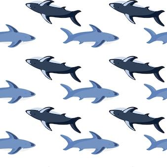 Бесшовные изолированные узор с синей печатью формы акулы. белый фон. подводный орнамент океана. предназначен для тканевого дизайна, текстильной печати, упаковки, обложки. векторная иллюстрация.