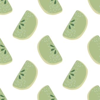 Seamless isolated pattern with green pastel apple slices. white background. summer cartoon print. graphic design for wrapping paper and fabric textures. vector illustration.