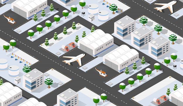 Seamless  isometric city airport with transport