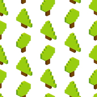 Seamless  of isometric trees.  illustration in pixel-art style