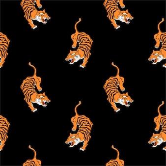 Бесшовные тигр в японском стиле для принтов на футболках