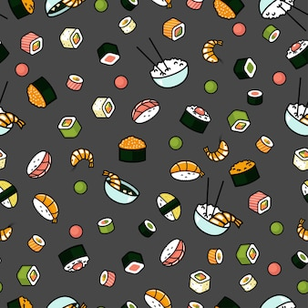 Seamless japenese food pattern, sushi and rolls, gray background