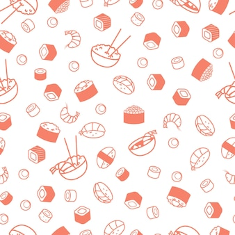Seamless japenese food pattern, sushi and rolls.