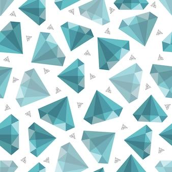 Seamless jewelry fashion pattern on grey stripe background with blue diamond and silver glitter