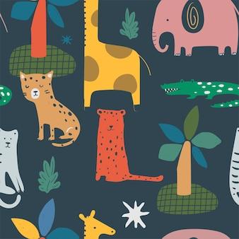 面白い動物とのシームレスなジャングルパターンキリン象虎ヒョウワニ手描き