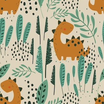 Seamless jungle pattern with funny dino and tropical elements hand drawn