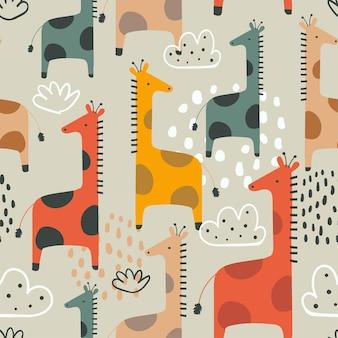 面白いキリンとのシームレスなジャングルパターン手描きのベクトルイラストクリエイティブな子供たち