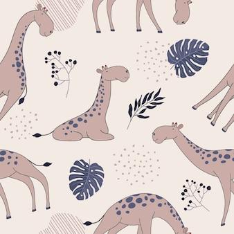 キリンと熱帯の要素を持つシームレスなジャングルパターン。