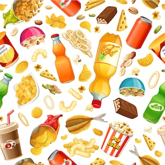 Seamless junk food pattern