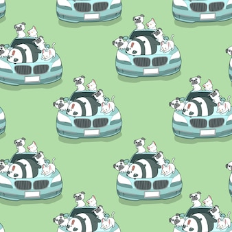 Seamless kawaii animals and blue auto car pattern.