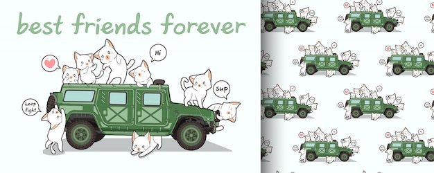 Seamless kawaii cat characters and military vehicle pattern