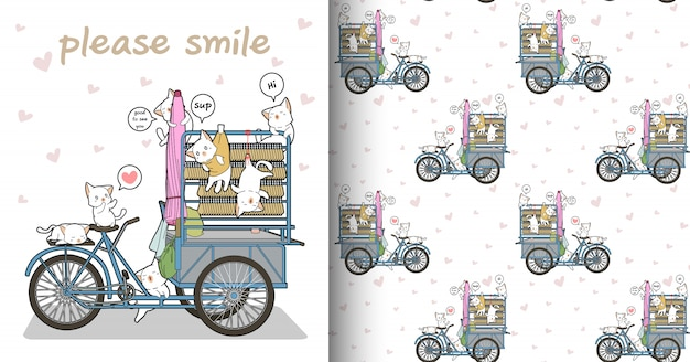 Seamless kawaii cat characters and portable stall pattern