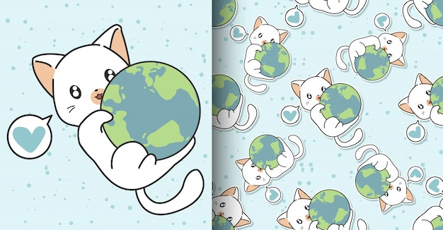 Seamless kawaii cat is hugging the world pattern