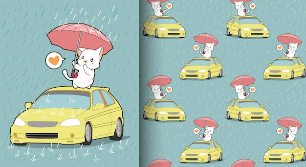 Seamless kawaii cat is protecting the car pattern