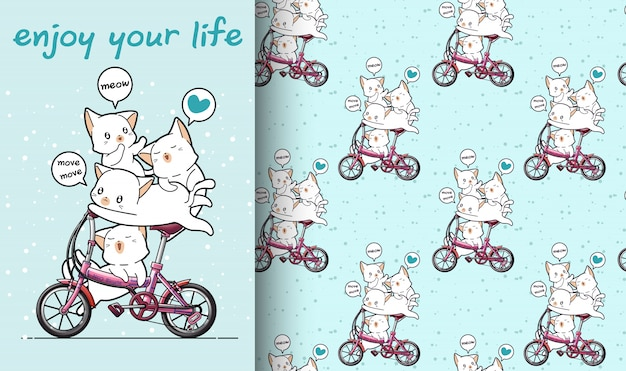 Seamless kawaii cat is riding a bicycle with friends pattern
