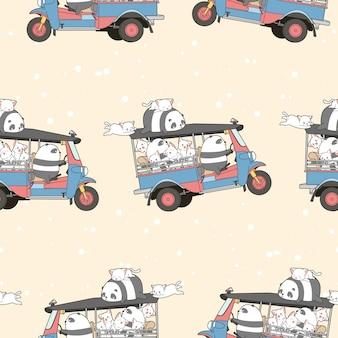 シームレスなかわいい猫とモーター三輪車パターンのパンダ。