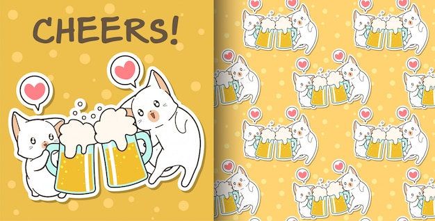 Seamless kawaii cats are drinking pattern