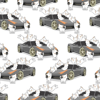 Seamless kawaii cats and auto car pattern.