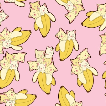 Seamless kawaii cats in banana pattern.