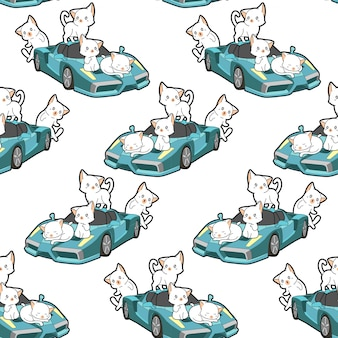 Seamless kawaii cats and blue super car pattern