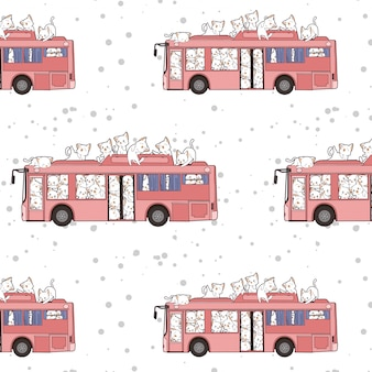 Seamless kawaii cats and bus pattern