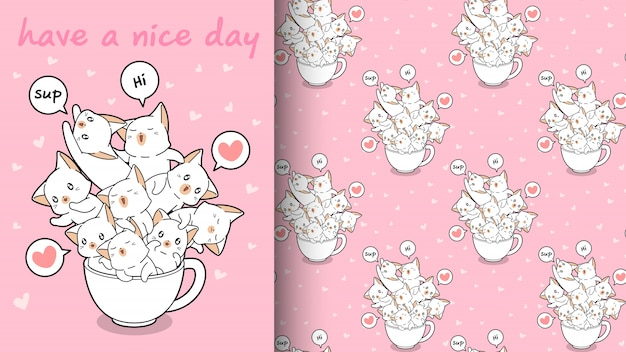 Seamless kawaii cats in a cup pattern