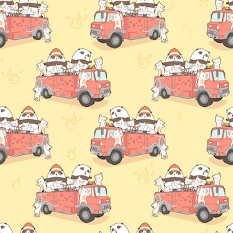 Seamless kawaii cats and panda fire fighter on fire truck pattern.