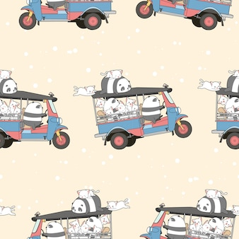 Seamless kawaii cats and panda on motor tricycle pattern.