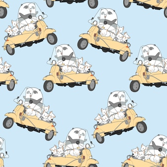 Seamless kawaii cats and panda with motorcycle pattern.