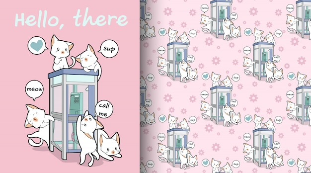 Seamless kawaii cats and phone booth pattern