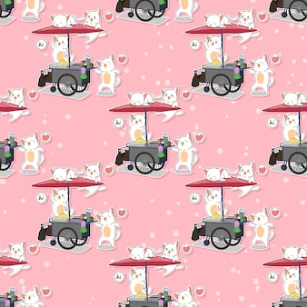 Seamless kawaii cats and portable stall pattern