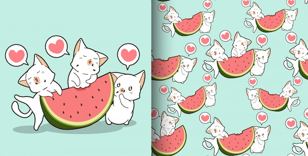 Seamless kawaii cats in and watermelon pattern